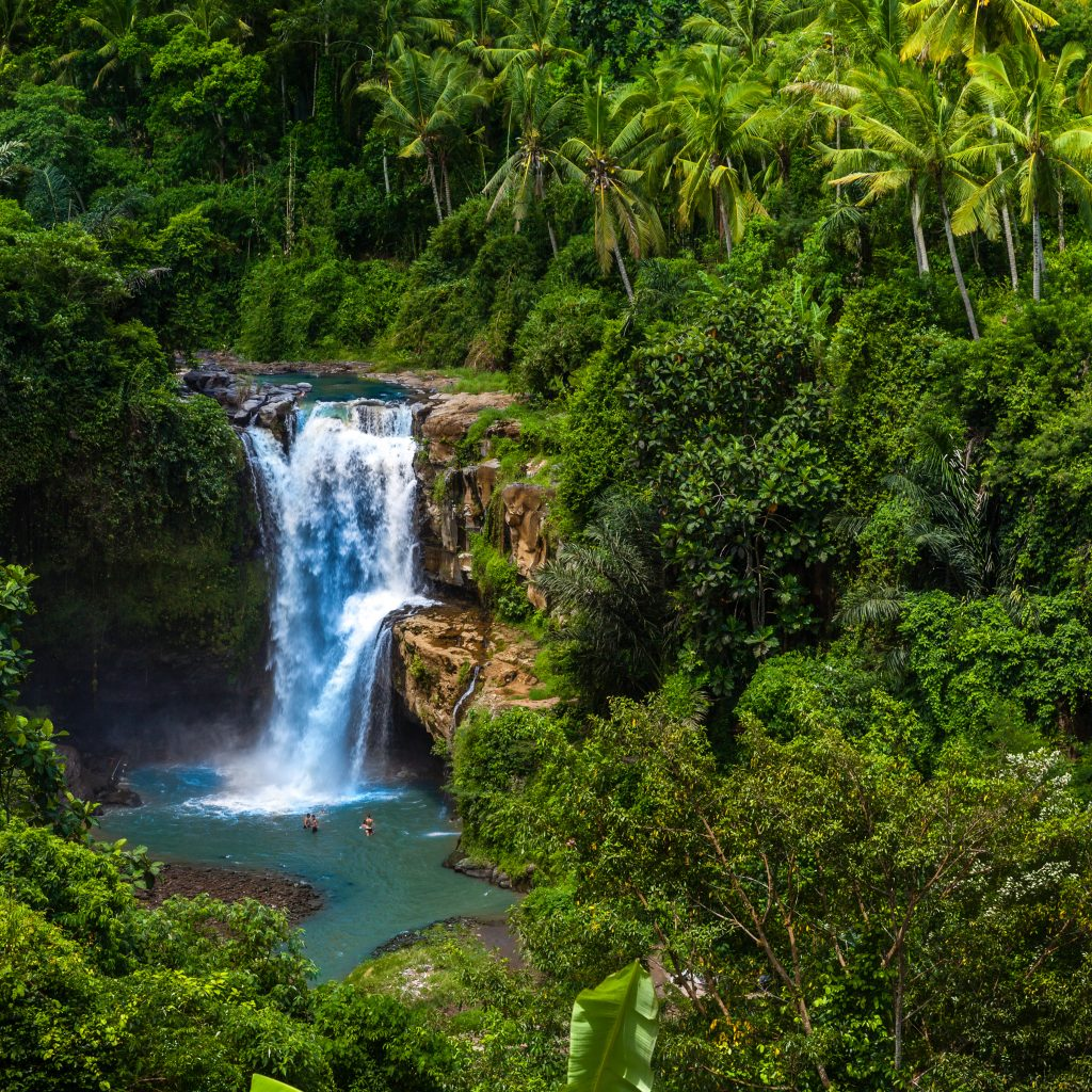 Tegenungan Waterfall it is one of places of interest of Bali, Secret Bali jungle Waterfall, Bali, Indonesia