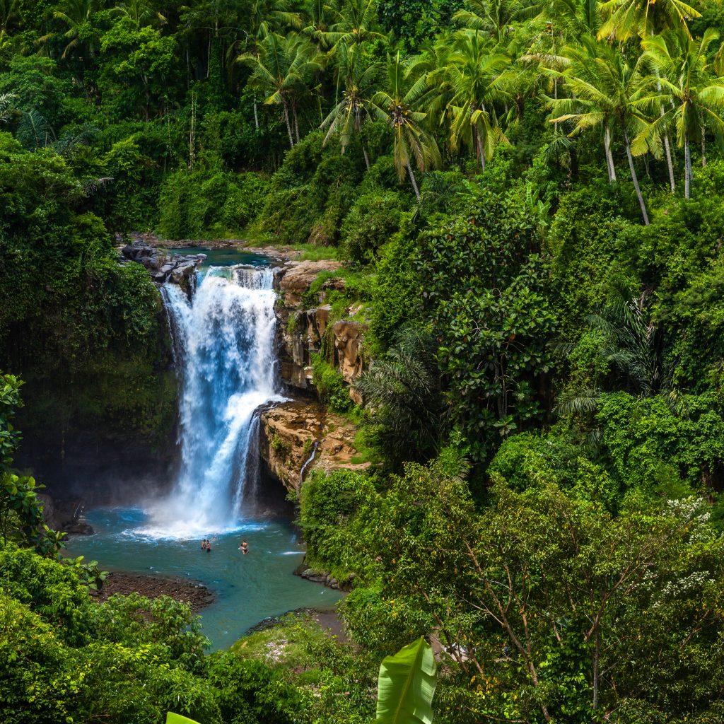Tegenungan Waterfall it is one of places of interest of Bali, Secret Bali jungle Waterfall, Bali, Indonesia